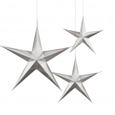 Silver 3D Star Hanging Decorations Pack of 3