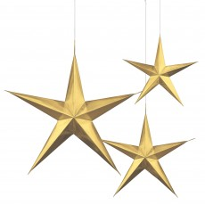 Gold 3D Star Hanging Decorations Pack of 3