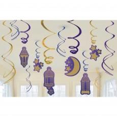 Moon & Stars Swirl Hanging Decorations Pack of 12