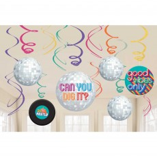 Disco & 70's Swirl Hanging Decorations Pack of 12