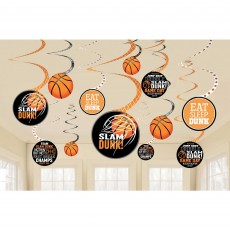 Basketball Fan Nothin' But Net Basketball Spiral Hanging Decorations Pack of 12