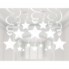 Frosty White Shooting Stars Swirls Hanging Decorations Pack of 30