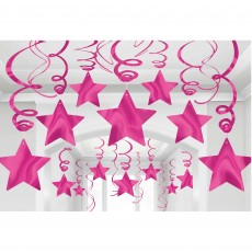 Bright Pink Shooting Stars Swirls Hanging Decorations Pack of 30