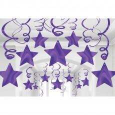 New Purple Shooting Stars Swirls Hanging Decorations Pack of 30