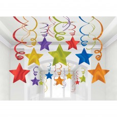 Multi Colour Shooting Stars Swirls Hanging Decorations