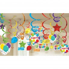 Happy Birthday Celebration Swirl Hanging Decorations