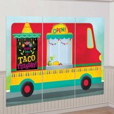 Mexican Fiesta Taco Truck Scene Setters 3 x 82cm x 1.65m Pack of 3