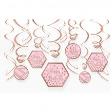 Blush Birthday Swirl Hanging Decorations