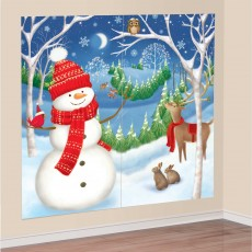 Christmas Party Decorations - Scene Setters Winter Friends Wall
