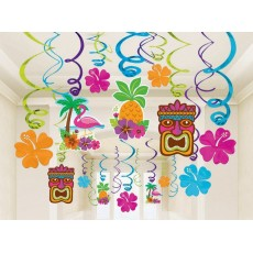 Hawaiian Luau Summer Luau Mega Foil Swirls Hanging Decorations