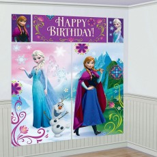 Frozen Party Decorations - Happy Birthday - Scene Setters Pack of 5