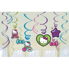 Hello Kitty Rainbow Swirl Hanging Decorations Pack of 12