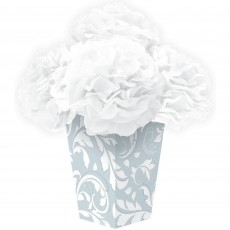 Silver 25th Anniversary Silver Scroll Fluffy Flower Centrepiece