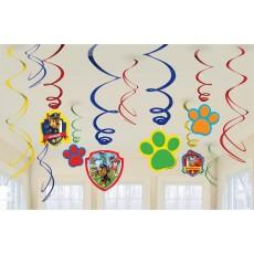 Paw Patrol Swirl Hanging Decorations Pack of 12