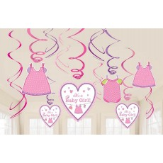 Shower with Love Girl Swirl Hanging Decorations Pack of 12