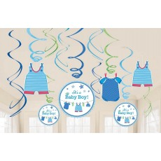 Shower with Love Boy Swirl Hanging Decorations Pack of 12