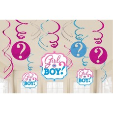 Gender Reveal Foil Swirl Hanging Decorations