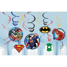 Justice League Swirls Hanging Decorations Pack of 12