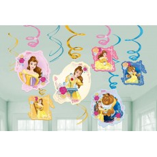 Beauty & the Beast Swirls Hanging Decorations Pack of 12