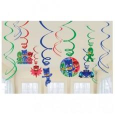 PJ Masks Swirl Hanging Decorations Pack of 12
