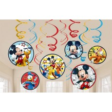 Mickey Mouse On The Go Swirl Hanging Decorations Pack of 12