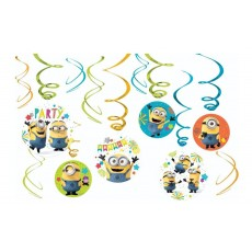 Minions Despicable Me Swirl Hanging Decorations Pack of 12