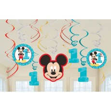 Mickey Mouse 1st Birthday Fun To Be One Swirl Hanging Decorations Pack of 12
