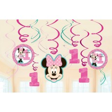 Minnie Mouse 1st Birthday Fun To Be One Swirl Hanging Decorations Pack of 12