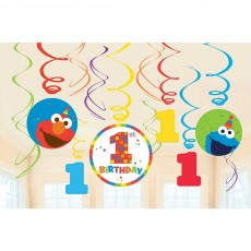 Elmo Turns One Swirl Hanging Decorations Pack of 12