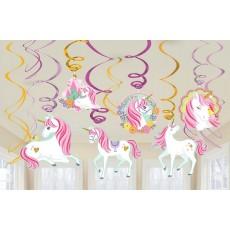 Magical Unicorn Swirls Hanging Decorations Pack of 12
