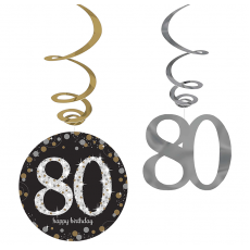 80th Birthday Sparkling Celebration Hanging Decorations Pack of 12