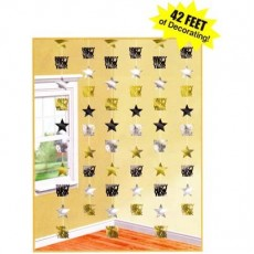 Black, Silver & Gold Happy New Year & Star String Hanging Decorations 2.13m Pack of 6