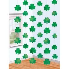 St Patrick's day Shamrock Foil String Hanging Decorations 2.1m Pack of 6