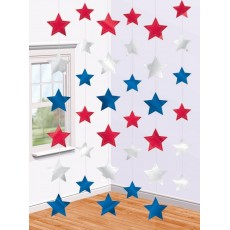 USA Patriotic Stars String Hanging Decorations 2.1m Pack of 6