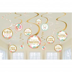 Boho Girl Spiral Hanging Decorations Pack of 12