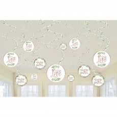 Bridal Shower Love and Leaves Spiral Hanging Decorations Pack of 12