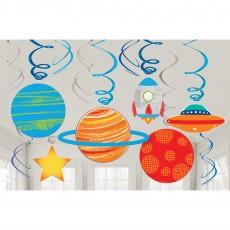Blast Off Swirl Hanging Decorations Pack of 12