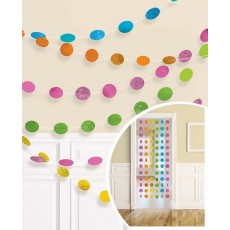 Multi Colour Glitter Round String Hanging Decorations 2.1m Pack of 6