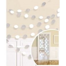 Frosty White Glitter Round String Hanging Decorations 2.1m Pack of 6