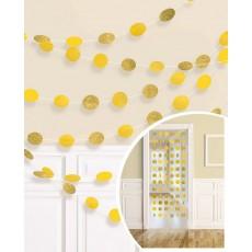 Sunshine Yellow Glitter String Round Hanging Decorations 2.1m Pack of 6