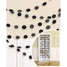 Black Jet Glitter Round String Hanging Decorations