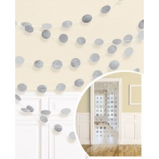 Round Silver Glitter String Hanging Decorations 2.1m Pack of 6