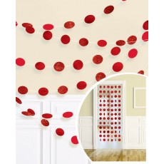 Apple Red Glitter Round String Hanging Decorations 2.1m Pack of 6