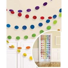 Rainbow Round Glitter String Hanging Decorations