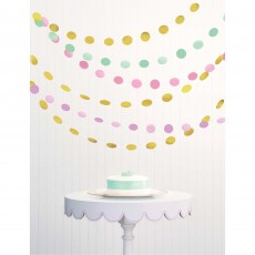 Pastel Multi Colour Circle String Hanging Decorations 2.13m Pack of 6
