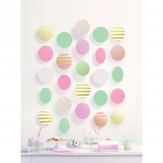 Pastel Multi Colour Circle Hanging Decorations Pack of 5