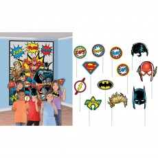 Justice League Party Supplies - Photo Props Heroes Unite Scene Setter