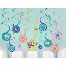 Sloth Spiral Hanging Decorations Pack of 12
