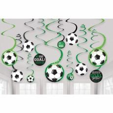 Soccer Goal Getter Spiral Hanging Decorations Pack of 12