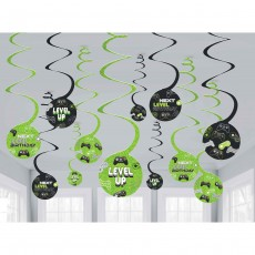 Level Up Gaming Party Decorations - Hanging Decorations Spiral Swirls